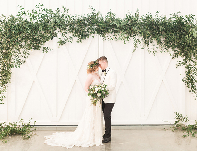 Inspiration shoot features lush greenery, elegant neutrals Image